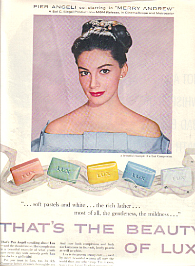 1958 LUX PIER ANGELI Beauty Actress SOAP AD (Image1)