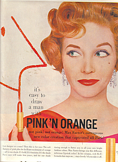 1958 Max Factor PINK'N ORANGE Draw a Man Lips (Image1)