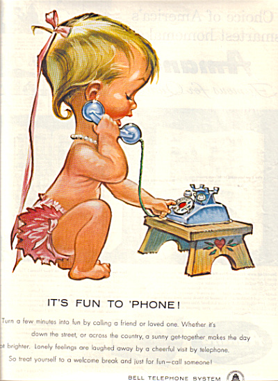 1958 Bell Telephone LITTLE GIRL BETSY BELL AD (Image1)