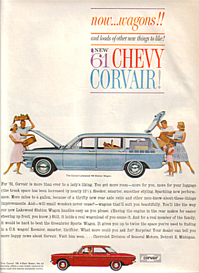 1961 Corvair LAKEWOOD  SEDAN Car AD Chevrolet (Image1)