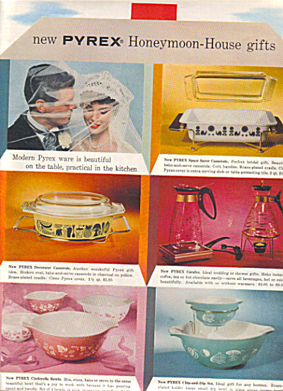 1958 PYREX Glass - Cookware Pattern AD Pink + (Image1)