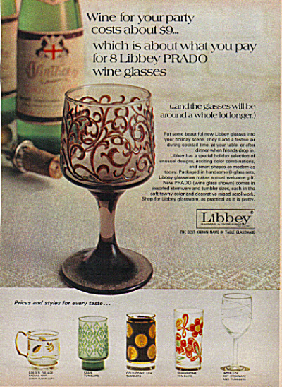 1971 Libbey Glasses Prado Spain Gold Coins ++