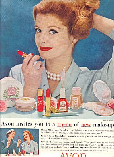 1958 AVON Cosmetics FASHION Make Up AD (Image1)