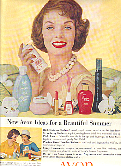 1958 AVON Suds - Cooler Pink Lace AD (Image1)