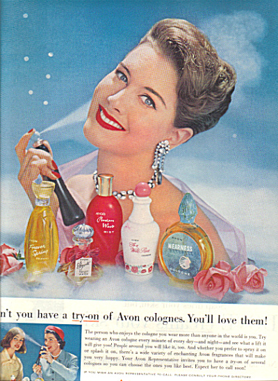 1958 AVON Calling COLOGNE Fashion Model AD (Image1)
