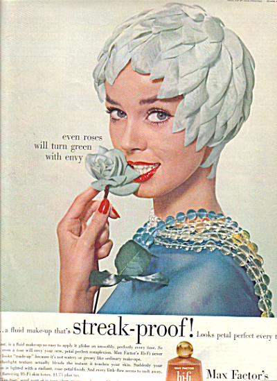 1958 Max Factor PETAL HAT Green Envy AD (Image1)