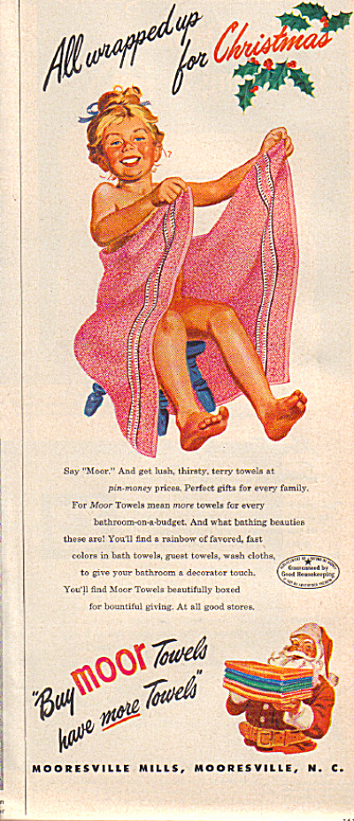 1948 MOOR GIRL Wrapped PINK TOWEL AD (Image1)