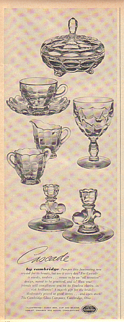 1949 Cambridge Cascade Glass 7 Pattern Ad