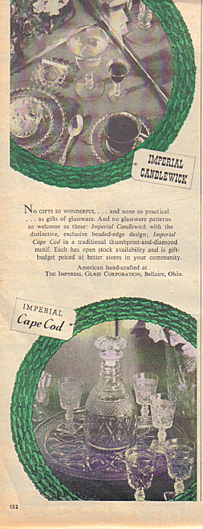 1953 IMPERIAL GLASS Candlewick - Cape COD AD (Image1)