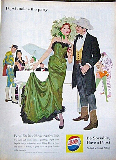 1960 PEPSI Cola Costume PARTY Adtwork Ad (Image1)