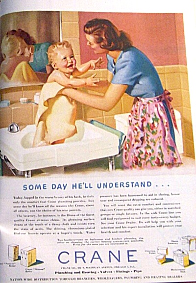 1948 Crane Plumbing Mom Almost Nude Baby Ad #2 (Image1)