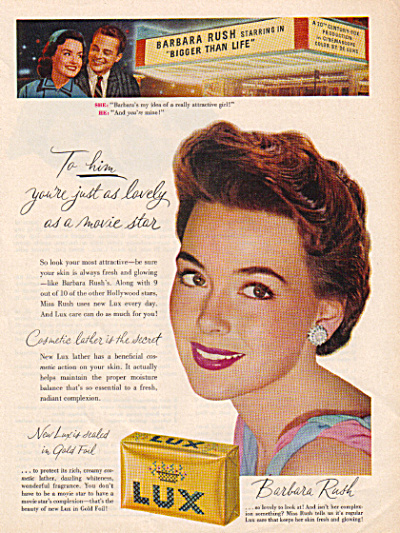 1956 LUX Soap BARBARA RUSH Actress AD (Image1)