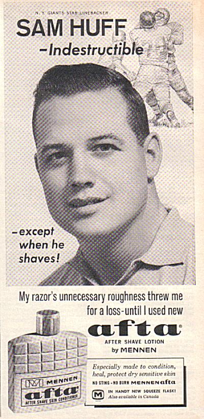 1963 NY Giants SAM HUFF Afta Mennen AD (Image1)