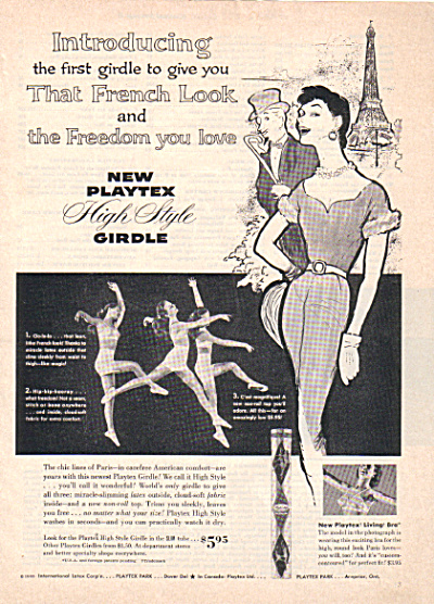 1955 French Look Girdle AD PLAYTEX Photo Girls Dancing  (Image1)