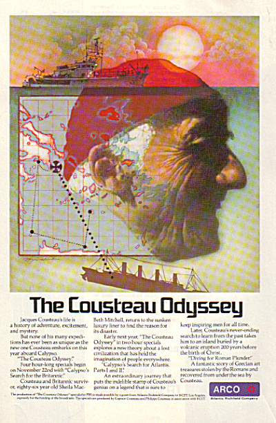 1977 Arco Jacques Cousteau Odyssey Ad