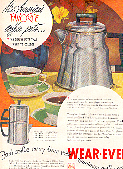 1949 Vintage Wear Ever Aluminum Coffee Pot Ad (Image1)