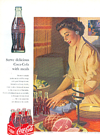 1952 COCA COLA Coke Bottle Lady Table AD (Image1)