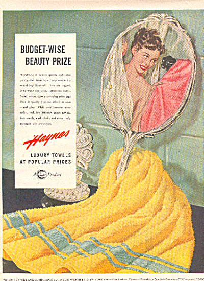 1949 HAYNES LADY in TOWEL Beauty Prize AD (Image1)