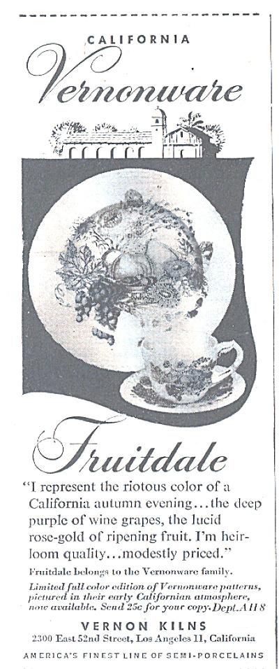 1947 Vernon Kilns FRUITDALE Dinnerware AD (Image1)