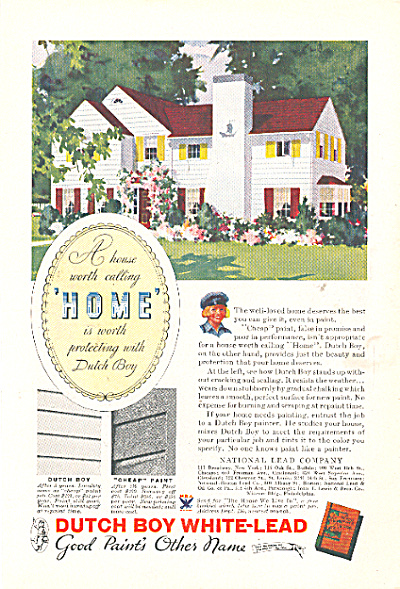 1937 DUTCH BOY White LEAD House Paint AD (Image1)