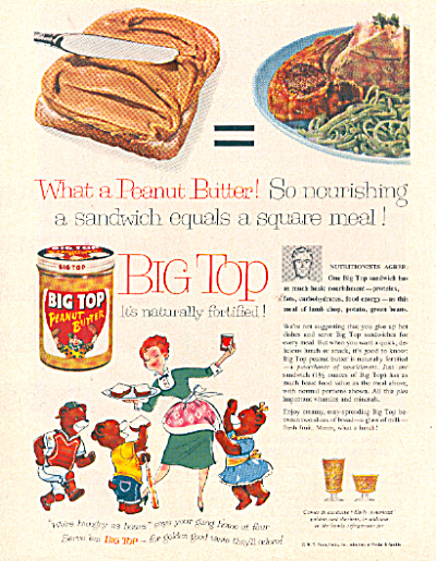 1957 BIG TOP Peanut Butter Early American AD (Image1)