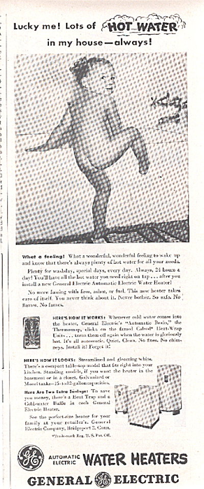 1947 GE Nude Little Girl in Bathtub AD (Image1)