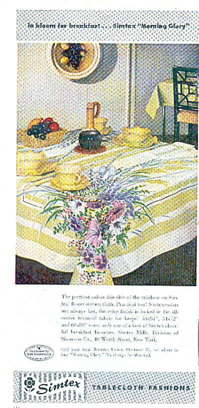 1961 SIMTEX Table Cloth MORNING GLORY AD (Image1)