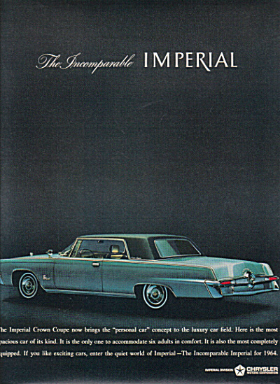 1964 Chrysler Imperial Crown Coupe Car Ad