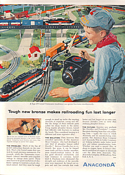 1956 Anaconda Lionel Trainmaster Zw Train Ad