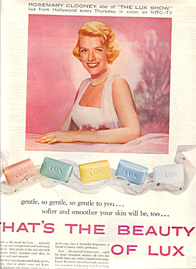 1958 ROSEMARY CLOONEY ~ LUX Beauty SOAP AD (Image1)
