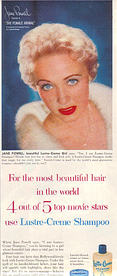 1958 JANE POWELL Lustre Creme Beauty AD (Image1)
