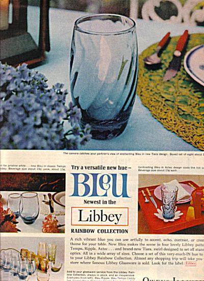 1967 Libbey GLASS Bleu ~ Aztec ~ Tempo Patter (Image1)