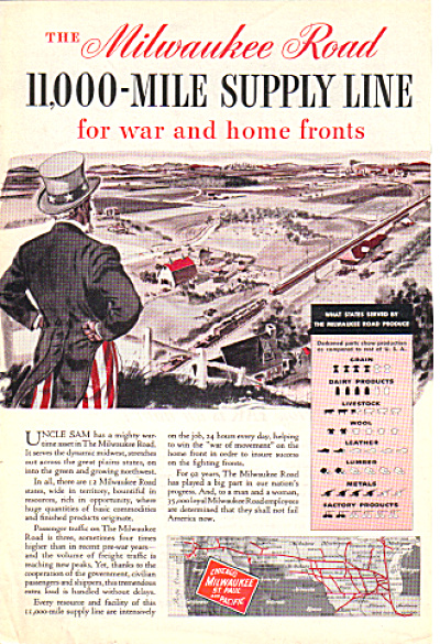 WWII Milwaukee Road Railroad UNCLE SAM WAR AD (Image1)