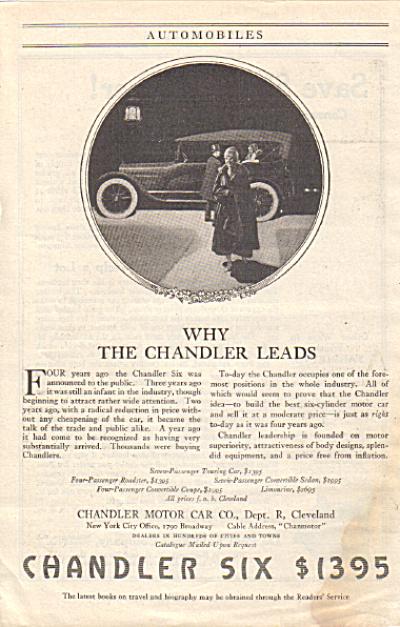 1917 CHANDLER SIX Vintage Car AD $1395 (Image1)