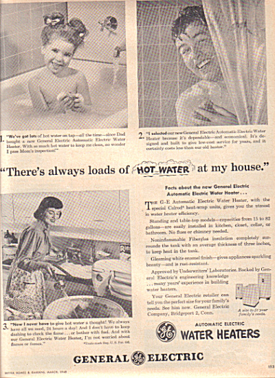 1948 General Electric Man - Girl BATHTUB AD (Image1)