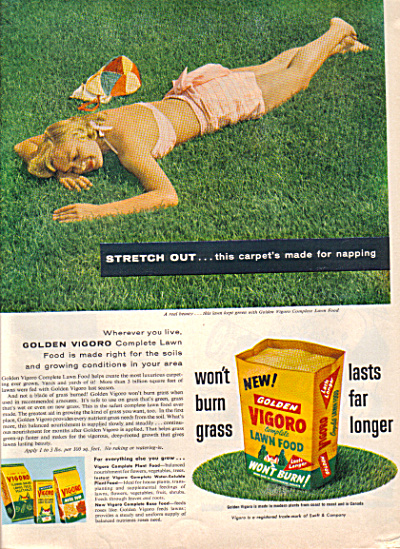 1957 VIGORO Lady Napping on LAWN Food AD (Image1)