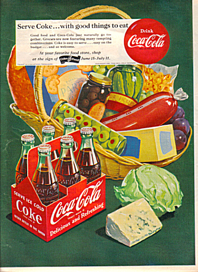1951 COKE Coca Cola 6 Pack Party Food AD (Image1)