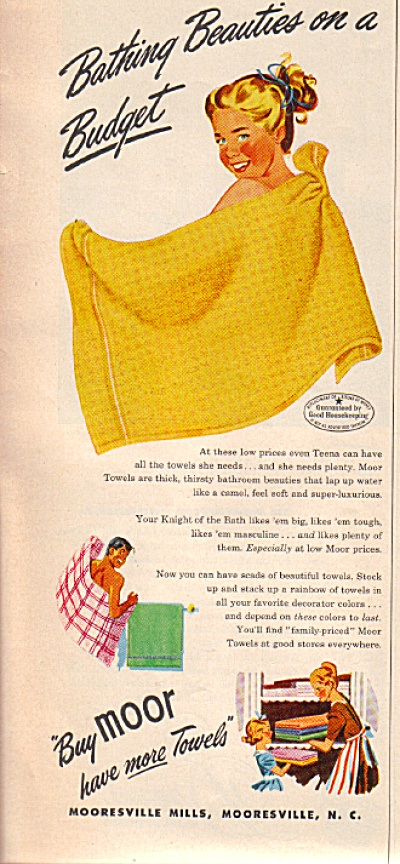 1949 MOOR Girl Bathing Beauties TOWEL AD (Image1)