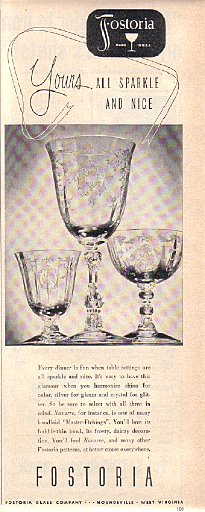 1948 Fostoria NAVARRE Yours  Glass Pattern AD (Image1)