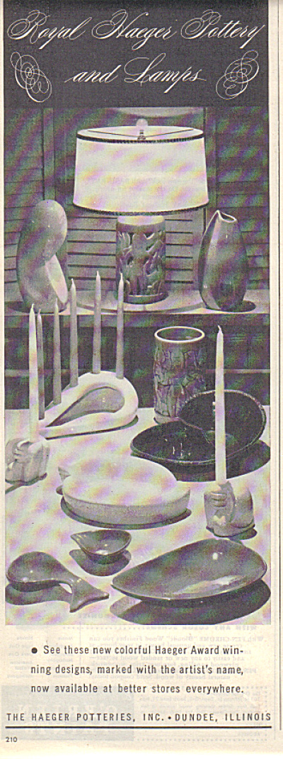1948 ROYAL HAEGER Pottery - Lamps Designs AD (Image1)