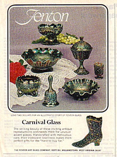 1972 FENTON CARNIVAL GLASS AD 8 Piece Pattern (Image1)