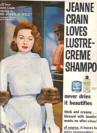 1957 JEANNE CRAIN Actress Lustre Creme AD (Image1)