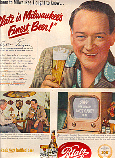 1951 WILLIAM GARGAN PI BLATZ Beer Ad (Image1)