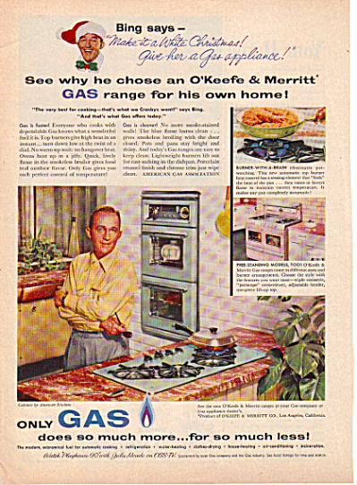 1957 BING CROSBY Gas Appliance Christmas AD (Image1)