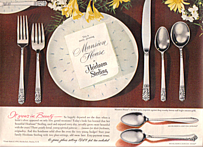 1950 Oneida Heirloom MANSION HOUSE Silver AD (Image1)