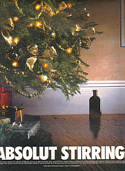 Large Absolut Stirring Christmas Vodka Ad