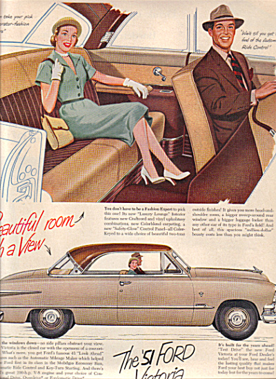 1951 Ford VICTORIA Luxury Lounge CAR AD (Image1)