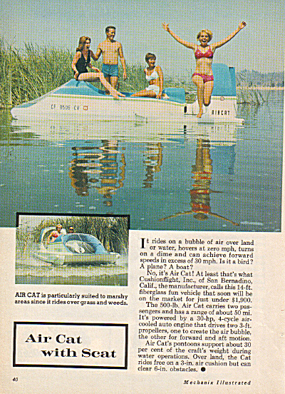 1968 AIR CAT Hover Craft Boat AD ORIGINAL (Image1)