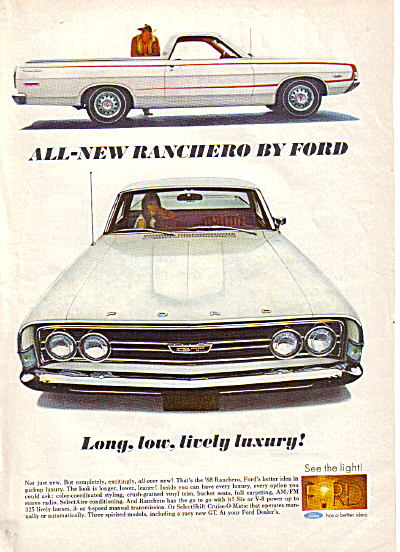 1968 Ford RANCHERO Long Lively LUXURY AD (Image1)