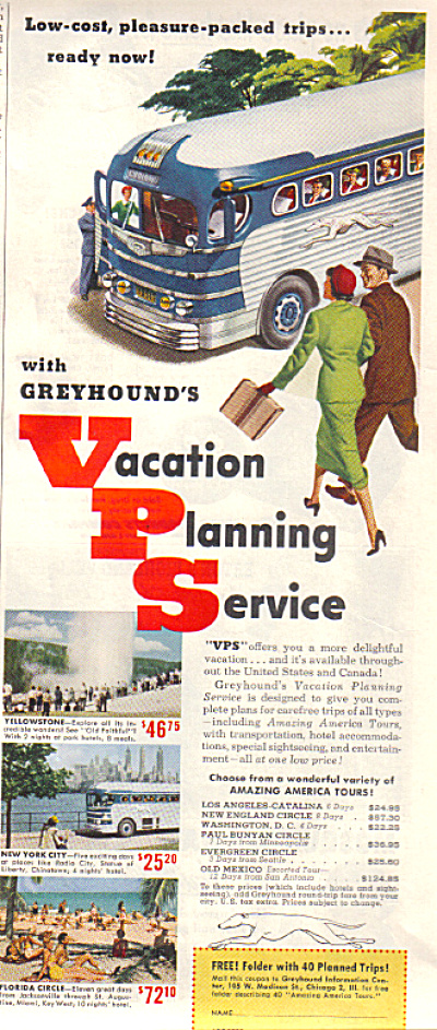 1951 GREYHOUND Bus Line VPS Travel AD (Image1)